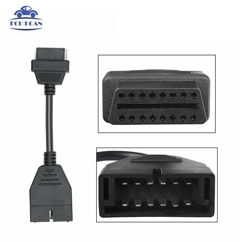 OBD II OBD 2 Connector for Diagnostic Cable GM 12 Pin Adapter to 16Pin