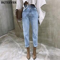 BGTEEVER винтажные прямые джинсы с высокой талией, брюки для женщин, уличная одежда, свободные женские джинсы с пуговицами на молнии, женские дж...