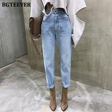 BGTEEVER Vintage wysokiej talii proste dżinsy spodnie dla kobiet Streetwear luźne dżinsy kobiece przyciski Zipper Ladies Jeans 2020 tanie tanio COTTON Poliester Kostki długości spodnie BY1036 WOMEN Na co dzień Zmiękczania Wysoka Przycisk fly Kieszenie light high waist jeans
