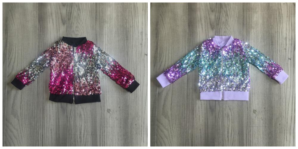 Girlymax Fall/winter outfits baby girls violet hot pink tie dyed sequins zipper coat cotton clothes children top cotton boutique 1
