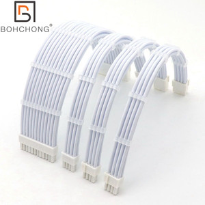 Image 1 - 180 학위 전체 화이트 4mm 애완 동물 기본 전원 확장 케이블 키트 1pcs ATX 24Pin 1pcs EPS 8Pin 2pcs PCI E 6 + 2Pin