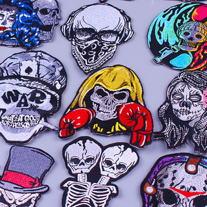 Boxing Skull Patch Iron On Patches For Clothes Stickers Orangutan Punk Patch Embroidered Patches For Clothing Applique Naszywki