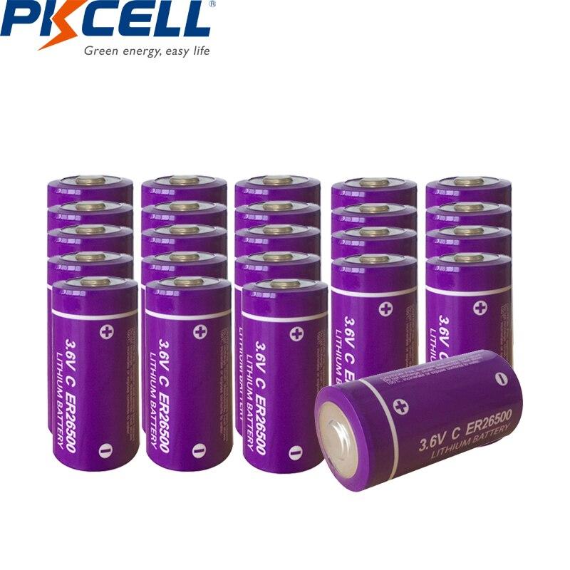 24 pces pkcell er26500m er26500 26500 3.6 v c tamanho bateria de lítio 9000 mah Li-SOCl2 baterias superior lr14 r14p c tamanho bateria