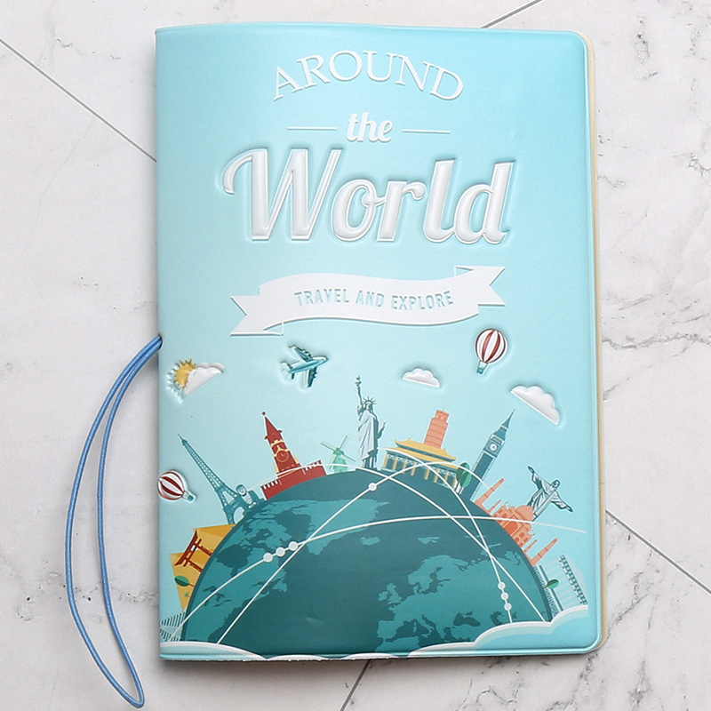 Travel Around The World Passport Cover Wallet Bag PU Leather ID Address Holder Portable Boarding Card Cover Travel Accessories