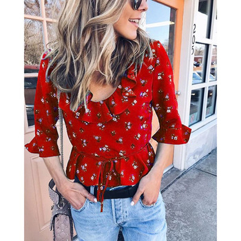 Feitong Women's Chiffon Spoon Neck Elegant 3/4 Sleeve Ruffled Hem Rare Floral Lace Front Shirt Top Top floral lace yoke pearl detail top