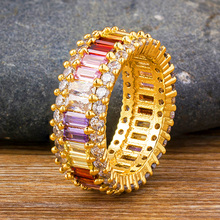 Fashion Copper AAA Cubic Zirconia CZ Gold Ring Bohemian Colorful Rainbow Rings Charm Party Wedding Engagement Jewelry For Women helon cubic zirconia cz solid 10k yellow gold pave prongs setting wedding ring engagement rings for women
