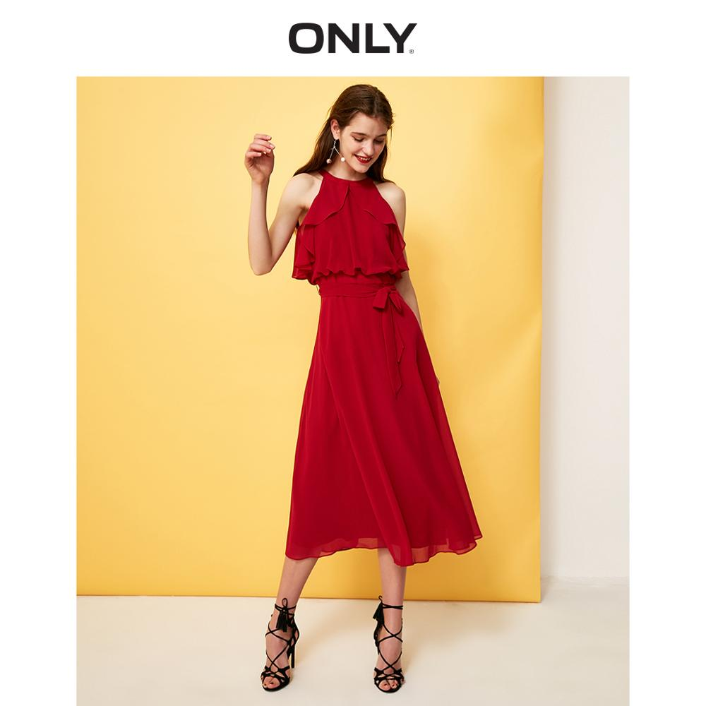 ONLY Women's Cinched Waist Off-the-shoulder Chiffon Dress | 119107579