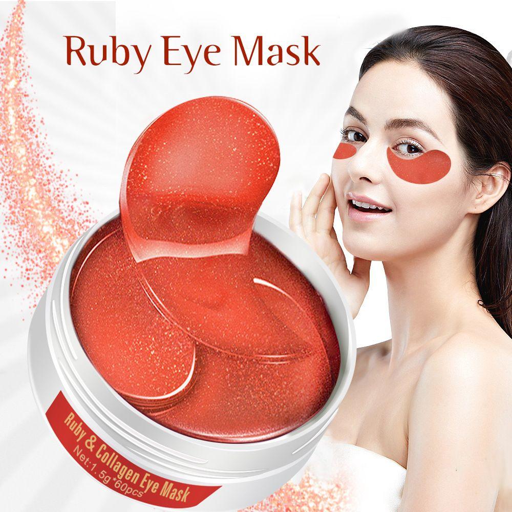 LAIKOU Ruby Eye Mask 60pcs Remover Dark Circle Anti Wrinkle Collagen Eye Patches Under Eye Sleeping Mask Moisturizing Eye Care