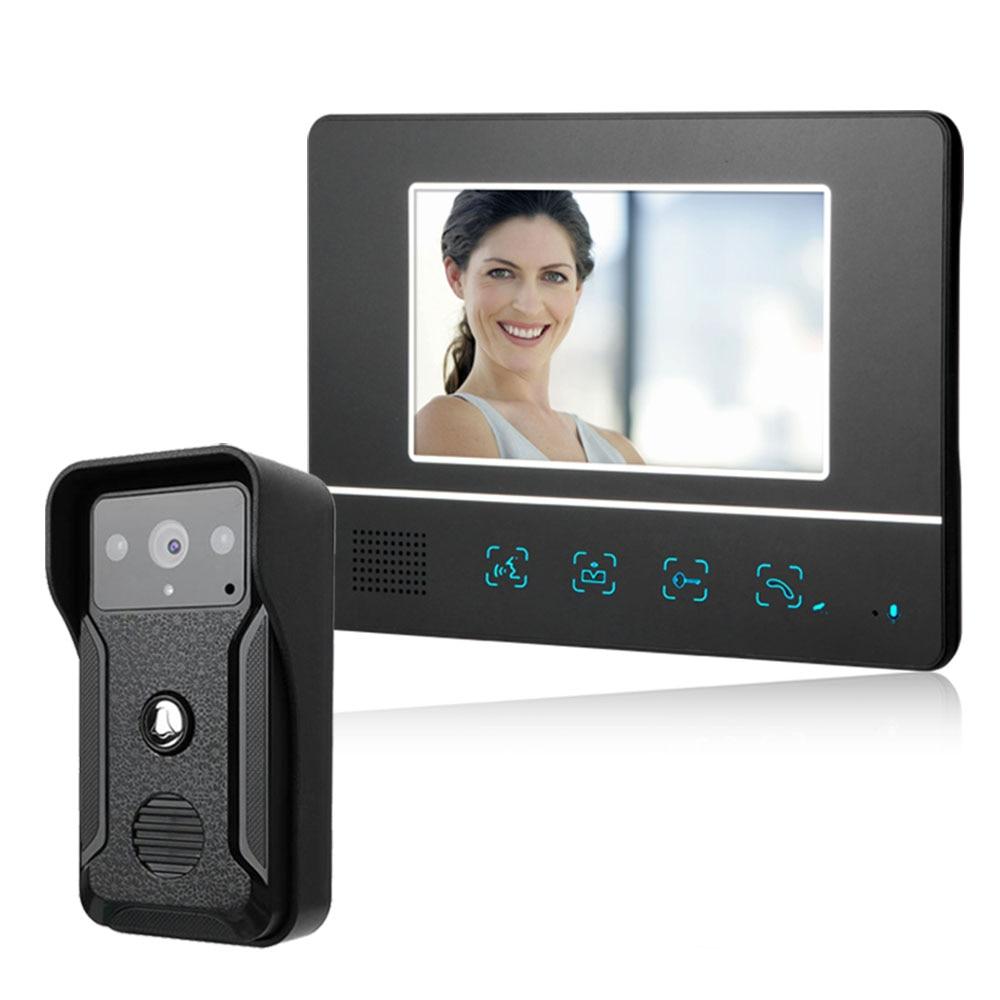 Visual Intercom Doorbell 7'' TFT LCD Wired Video Door Phone System Indoor Monitor 1000TVL Outdoor IR Camera Support Unlock