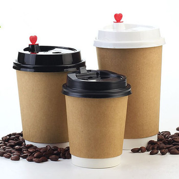 100pcs Coffee paper cup with lid disposable milk tea paper cup double layer takeaway hot drink cup free shipping
