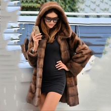 TOPFUR 2019 New Fashion Winter Female Coat Real Fur For Women Natural Mink Outerwear & Coats With Hood Basic Jackets