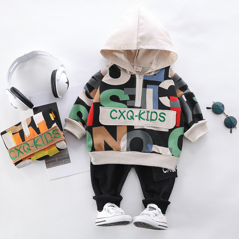 HYLKIDHUOSE 2020 Spring Baby Boys Clothing Sets Printed Letters Hooded T Shirt Pants Toddler Infant Clothing Children Clothes