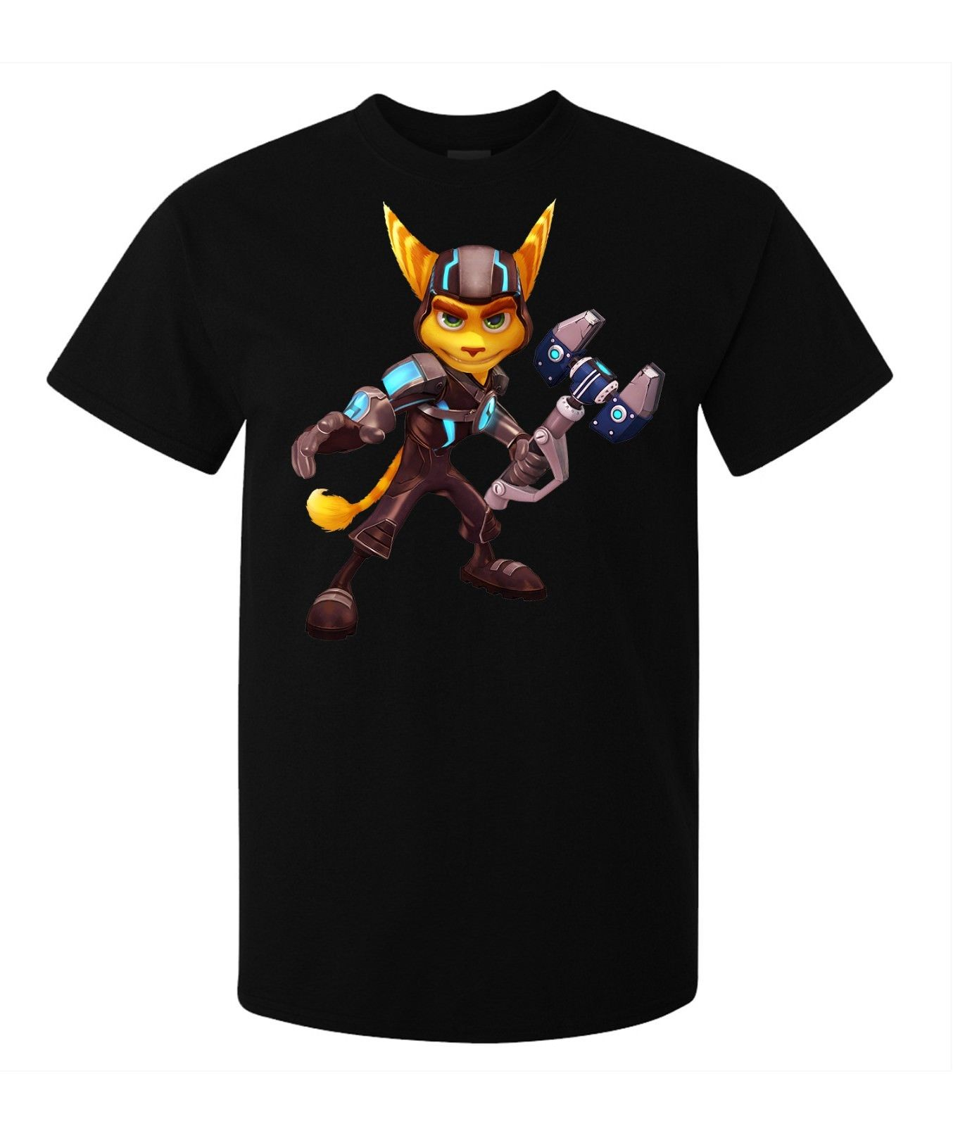 Ratchet And Clank Game Character Ratchet men's (woman's available) t shirt blackCartoon t shirt men Unisex New Fashion image