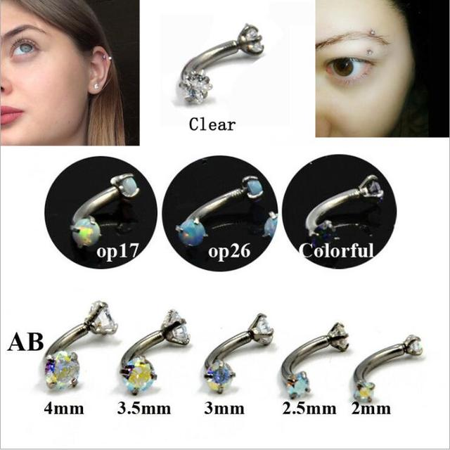imixlot AAA Zircon 316L Stainless steel internal thread bending rod earrings Opal AB color zircon Ear Belly Eyebrow Lip Earring