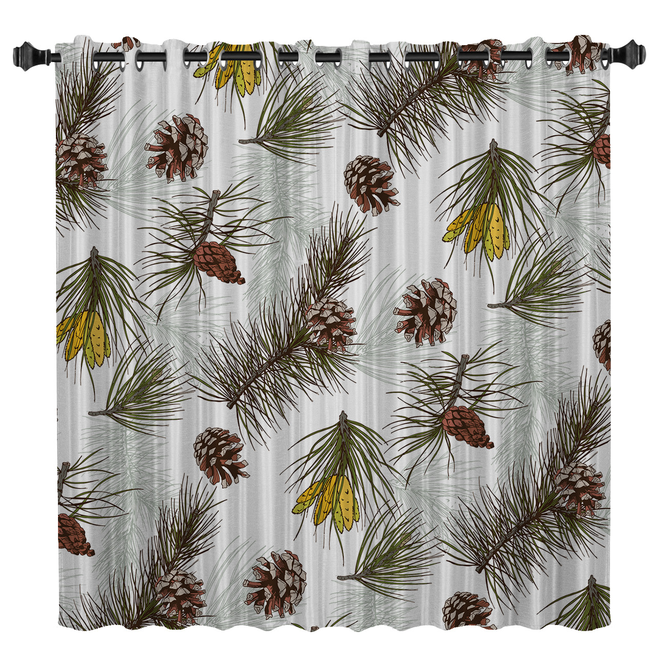 Pine Cone Merry Christams Room Curtains Large Window Window Blinds Living Room Outdoor Drapes Decor Kids Swag Window Treatment
