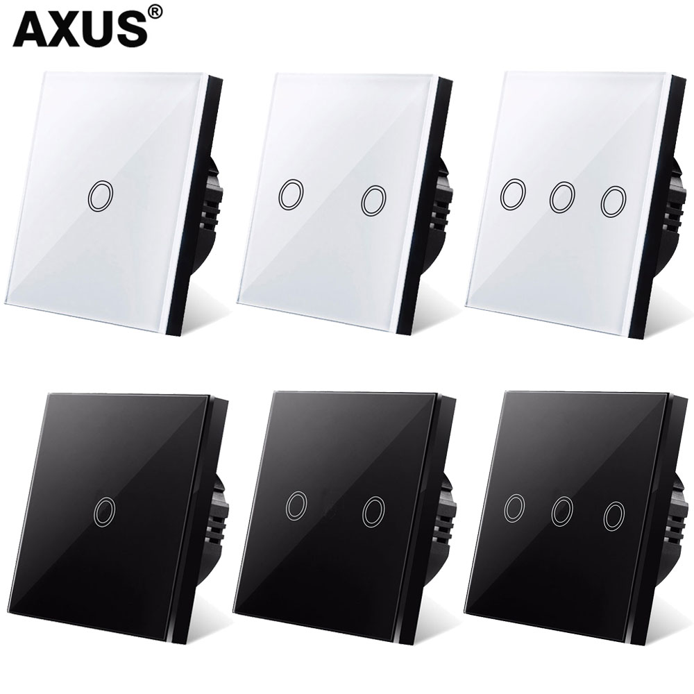 AXUS AC220V Touch Switch light EU/UK standard Wall Touch Screen glass panel power sensor Switch screen LED backlight 1gang 1 way