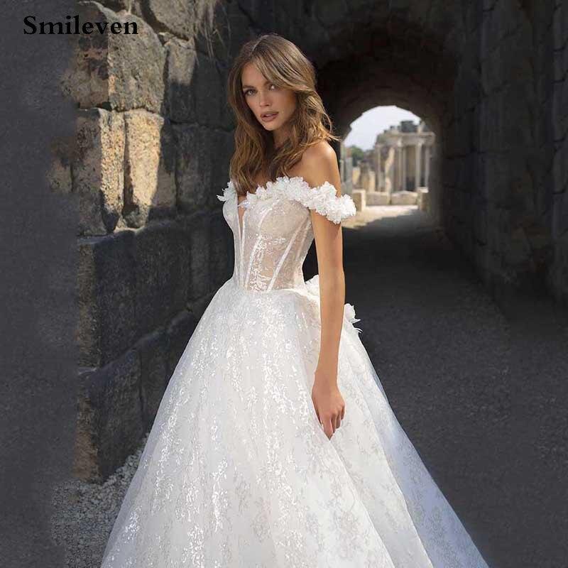 Smileven Princess Wedding Dress 2020 Off The Shoulder Glitter Bride Dresses Sexy Backless Vestido De Noiva Wedding Gowns