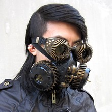 Biohazard re: 2 leon steampunk retro punk máscara de gás e óculos com luz airsoft máscara facial antiviral leon cosplay prop(China)