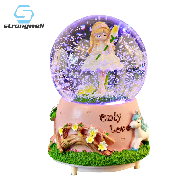 Strongwell Romantic Crystal Ball Anime Music Box <font><b>Snowball</b></font> Light Snow Globe Automatic External Rotation New Year Gift Home Decor image