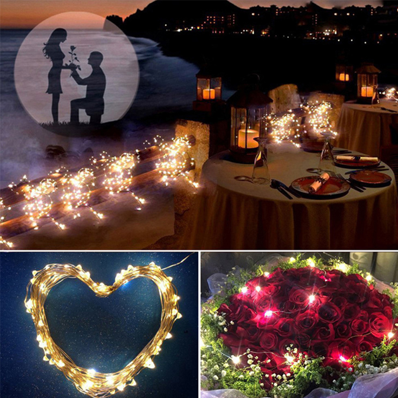 1/2/3/5/10M LED String Copper Wire LED Lights Holiday Lighting Fairy Garland For Christmas Tree Flower Wedding Party Decoration