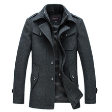 2020 Woolen Coat Men Winter Windbreaker Long Thick