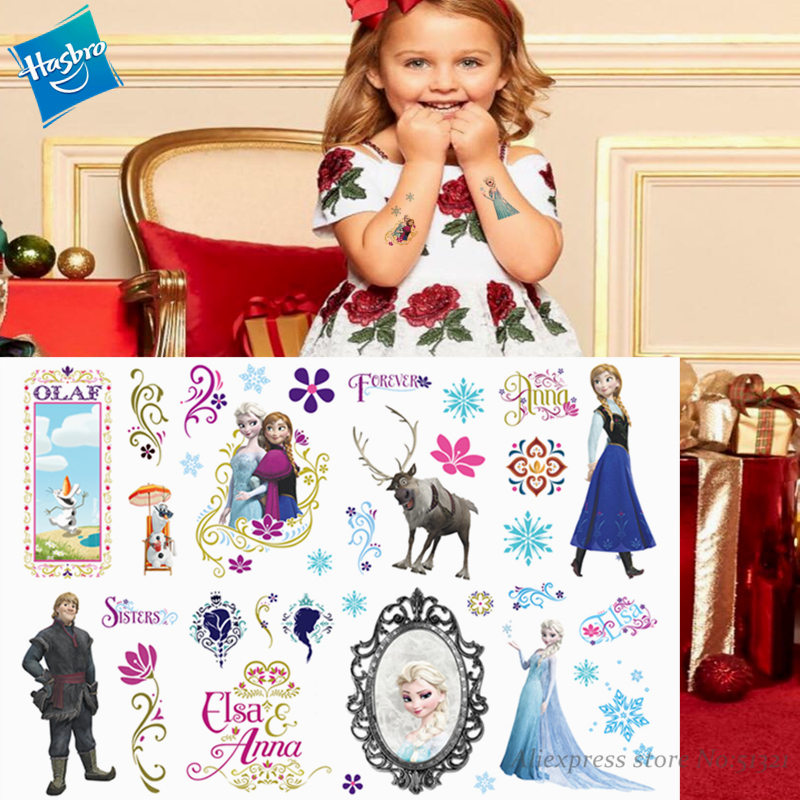 Hasbro Princess Elsa Frozen Children Cartoon Temporary Tattoo Sticker For Girl Cartoon Toy Novelty Cosplay Funny Gift