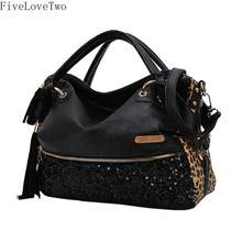 FiveLoveTwo Women's Leopard Print Black Purse Handbag Hobo Style Sequin PU Leather Shoulder Bag(China)