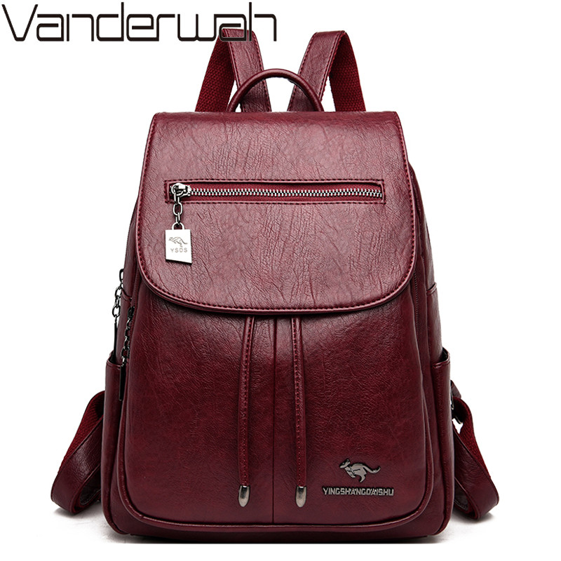 Women Leather Backpacks Female High Capacity Shoulder Bag Mochilas Vintage Schoolbags For Teenage Girls Casual Travel Back Pack