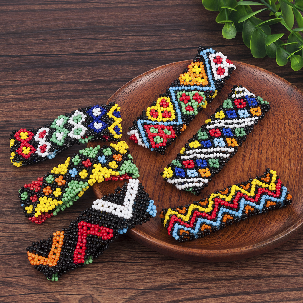 Unique Boho Women Printing Patterned Beads Bracelet Elastic Original Totem Pattern Handmade Elastic Wristband Bangle Jewelry