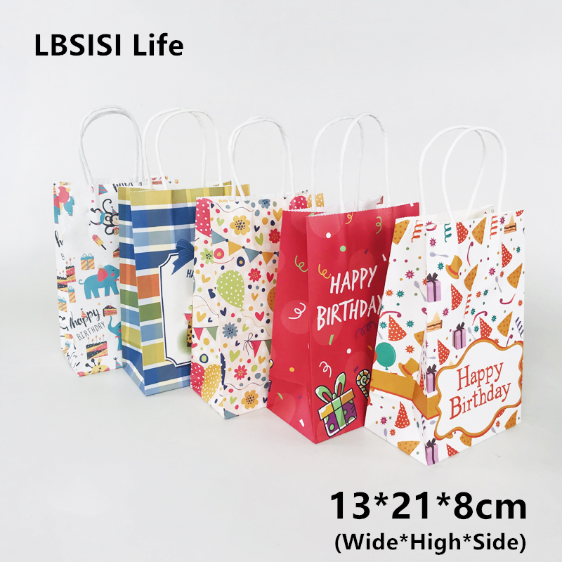 LBSISI Life 5pcs Happy Birthday Paper Bags With Handle Gift Cookie Food Candy Paper Bag Packing Decoration Party Favor