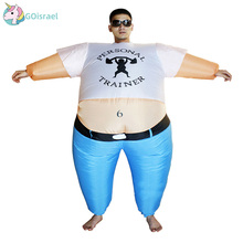Inflatable Personal Trainer Costume Strong Man Women Adult Halloween Party Carnival Cosplay Blow Up Outfit Fancy Dress Jumpsuit