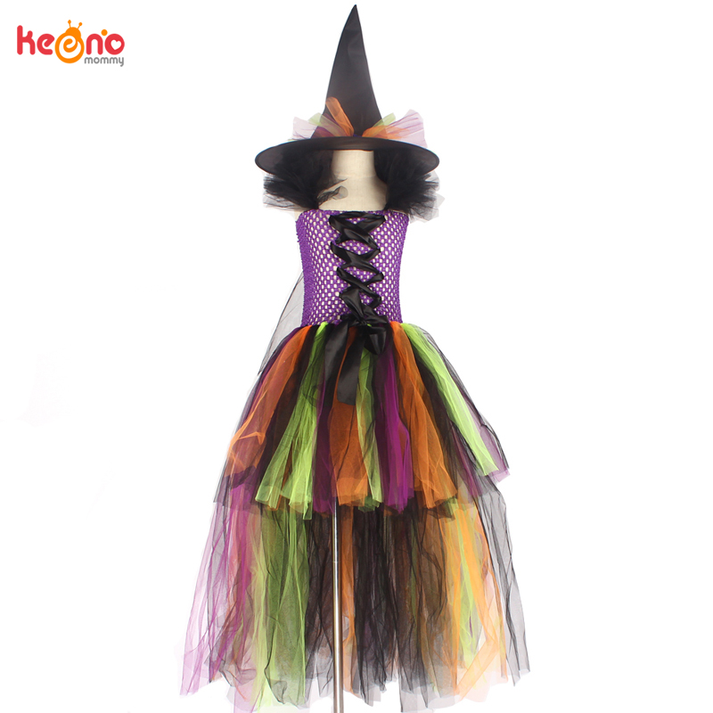 Girls Halloween Witch Tutu Dress Rainbow Trailing Tulle Kids Carnival Cosplay Party Dress Children Fancy Ball Gown Dress Costume 5