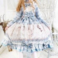 ארמון נסיכת מסיבת תה מתוק לוליטה שמלת וינטג תחרה bowknot o צוואר חמוד הדפסת תחבושת ויקטוריאני שמלת kawaii ילדה op