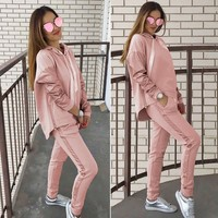 Fashion Sweatshirt 2 Piece Tracksuit For Women Loose Hooded Top Women Tracksuit Solid Long Pants Two Piece Set