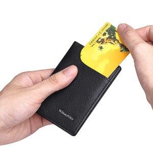 Image 4 - WILLIAMPOLO portfele męskie ze skóry naturalnej przednia kieszeń torebka wąskie etui na karty kredytowe Cowskin New Design