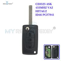 Ce0523 flip remoto chave 3 botão de luz média botão va2 chave lâmina para peugeot para citroen ask 433 mhz id46 pcf7941 remtekey|Chave do carro| |  -
