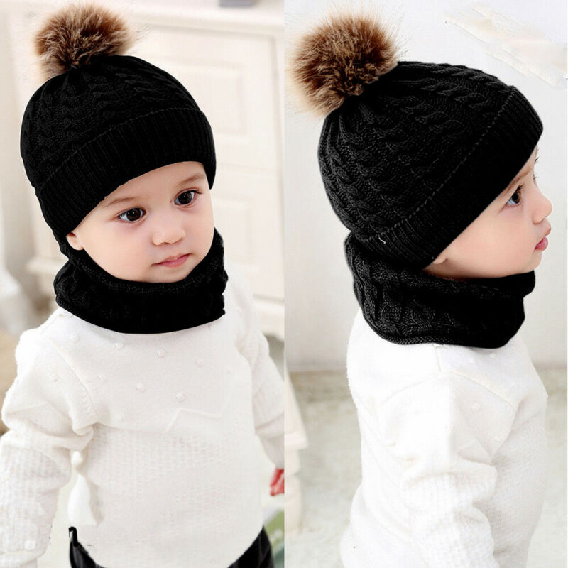 2pcs/set Fashion Newborn Baby Hats Knitted Warm Pom Round Machine Cap Protects Ear Bonnet Baby Winter Caps + Scarf Suits