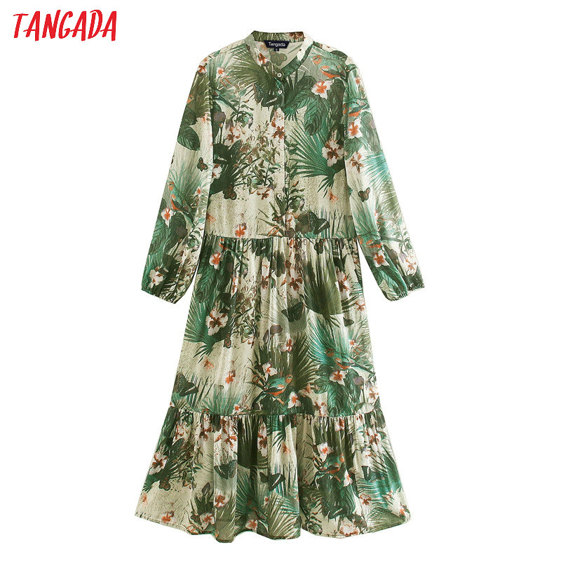 Tangada Fashion Women Leaf Print Dress 2020 New Arrival Long Sleeve Ladies Loose Midi Dress Vestidos XN214