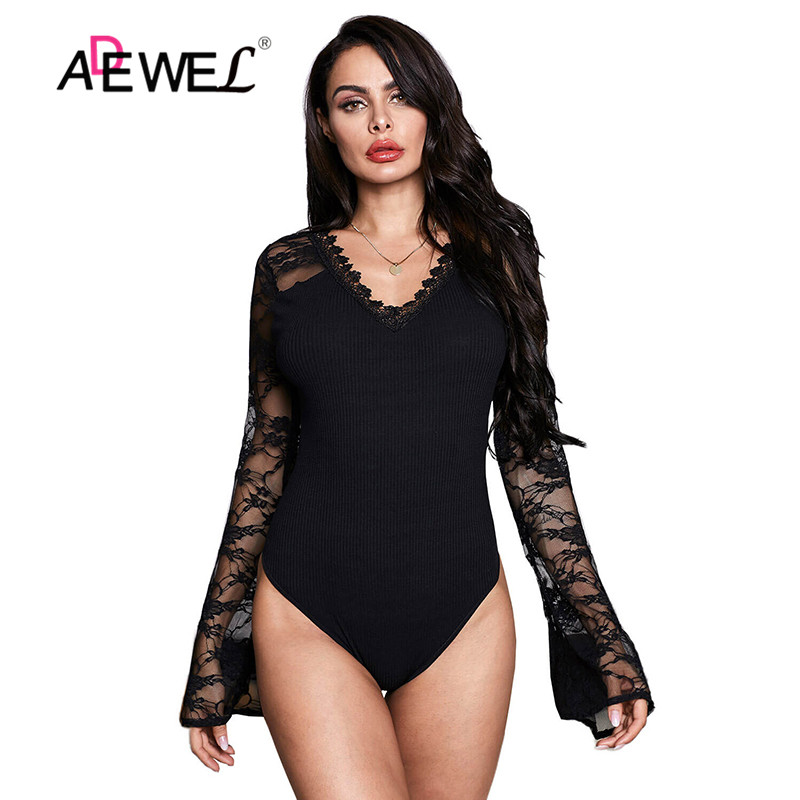 ADEWEL Sexy White Flare Lace Sleeve Ribbed Bodysuit Long Sleeve Hollow Body White Black Body Suit
