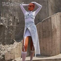 Deuxtwinstyle Denim gaze trois pièces ensemble pour les femmes col roulé taille irrégulière Section Sexy ensemble femme mode 2020 marée d'été
