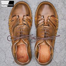Marka projekt wysokiej jakości ręcznie tkane sandały mężczyźni w stylu Vintage płaskie okrągłe Toe 100 prawdziwej skóry buty na plażę męskie rzymskie sandały tanie tanio YueYueAngel CN (pochodzenie) PRAWDZIWA SKÓRA Skóra bydlęca GLADIATORKI RUBBER Sznurowane Mieszkanie (≤1cm) Pasuje na mniejsze stopy niezwykle Proszę sprawdzić informacje o rozmiarach ze sklepu