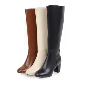 Image 3 - Womens Fashion Boots Knee High Slim Boots Solid Color Riding Boots Women Elegant Side Zip Comfortable Boots Plus size Shoes