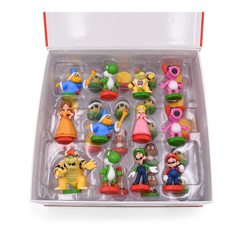 32 pièces/ensemble Super Mario Bros PVC figurines jouets Yoshi pêche princesse Luigi timide gars odyssée âne Kong jeu d'échecs poupée - 5