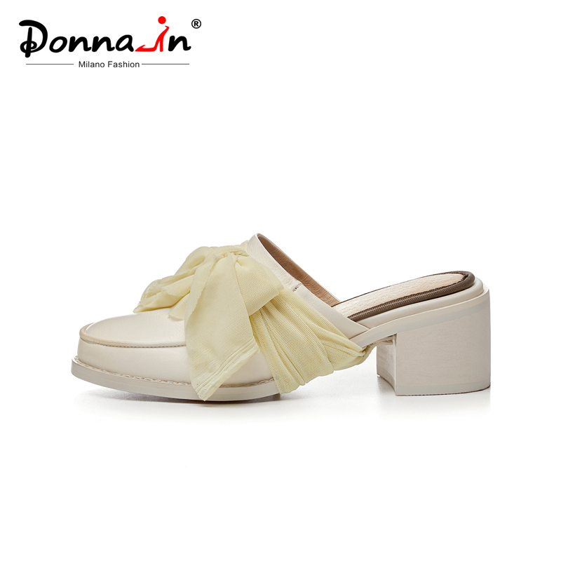 Donna-in Sweet Muslin Women Mules Slippers Natural Leather Summer Slip on Ladies High Heel Shoes Handmade Dress Female Slippers
