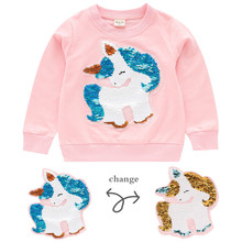 Blouse Girls Sweater Shirt Unicorn Children Clothing Animal Cartoon Long-Sleeved Autumn