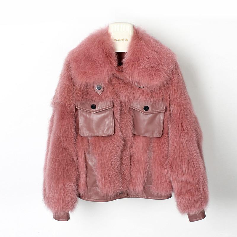 OFTBUY 2019 Casual Winter Jacket Women Luxury Real Fur Coat Thick Warm Natural Fox Fur Loose Outwear Streetwear Fashion New