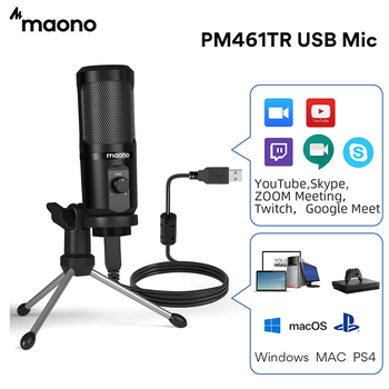 MAONO AU-PM461TR USB Microphone Condenser Recording PC Mic for Online Teaching Meeting Livestreaming Gaming With Tripod Stand 1