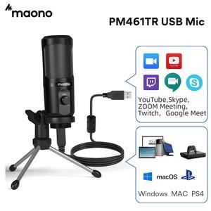MAONO AU-PM461TR USB микрофон, конденсер, Запись ПК микрофон для он-лайн преподавание встреча Livestreaming игровая клавиатура с штатив-Трипод стойка