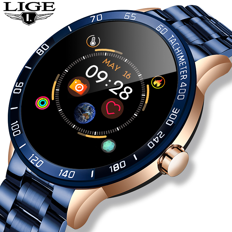 LIGE New Mens smart watch men Waterproof sport For iPhone Heart rate monitor Blood pressure function smartwatch Fitness tracker
