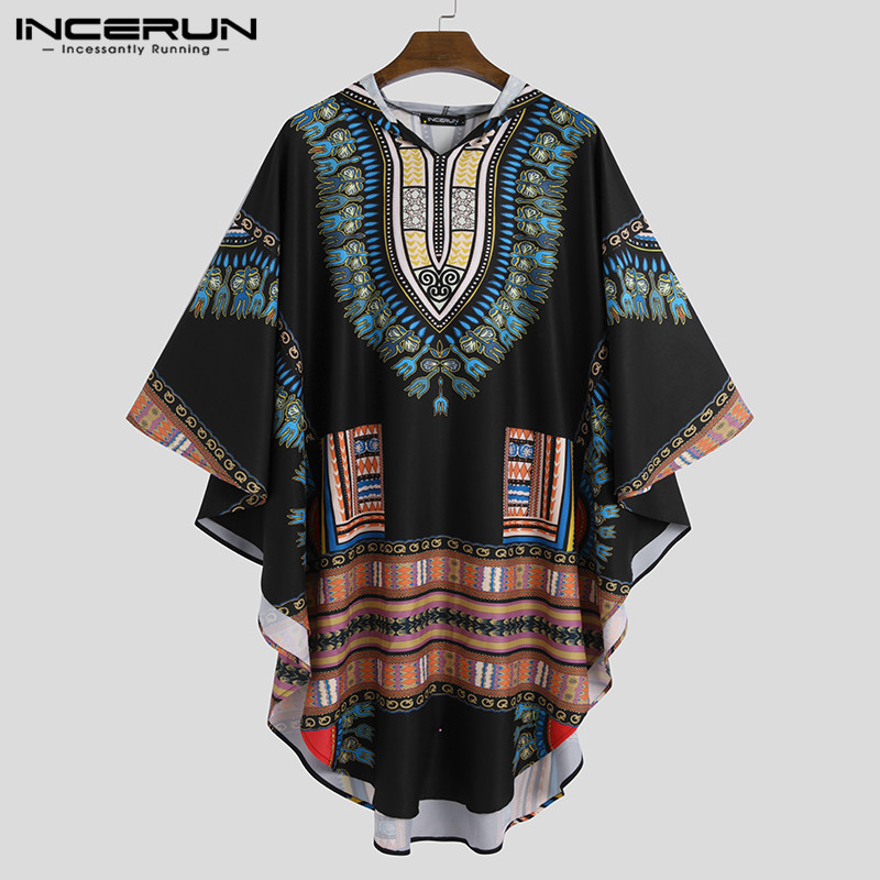 INCERUN Men African Clothing Cloak Hooded Ethnic Style Printed Tops Vintage Casual Cape Loose African Dashiki Men Shirts S-5XL 7